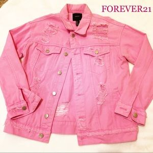 FOREVER 21 distressed jeans jacket PINK